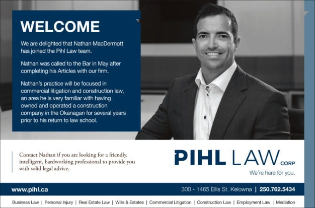 Pihl Law print announcement welcoming Nathan MacDermott to the commercial litigation and construction law team, with a picture of Nathan and some text similar to the post