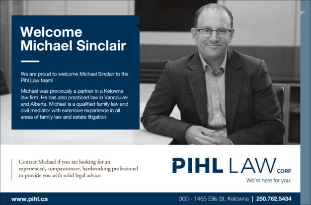 Headshot and welcome message of Michael Sinclair, a new member to the Pihl Law team